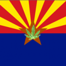 Image of Arizona flag and medical marijuana