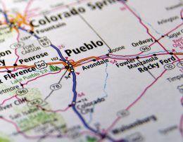 16743675 - close-up map of pueblo, colorado