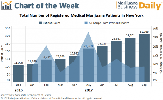 , Chart: New York medical marijuana patient counts surge 183%, but challenges remain for businesses