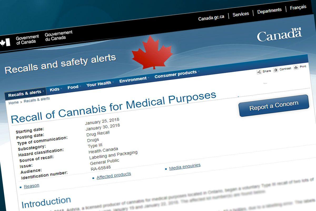 Canada cannabis recalls, Mold, labeling errors cause rash of cannabis recalls in Canada