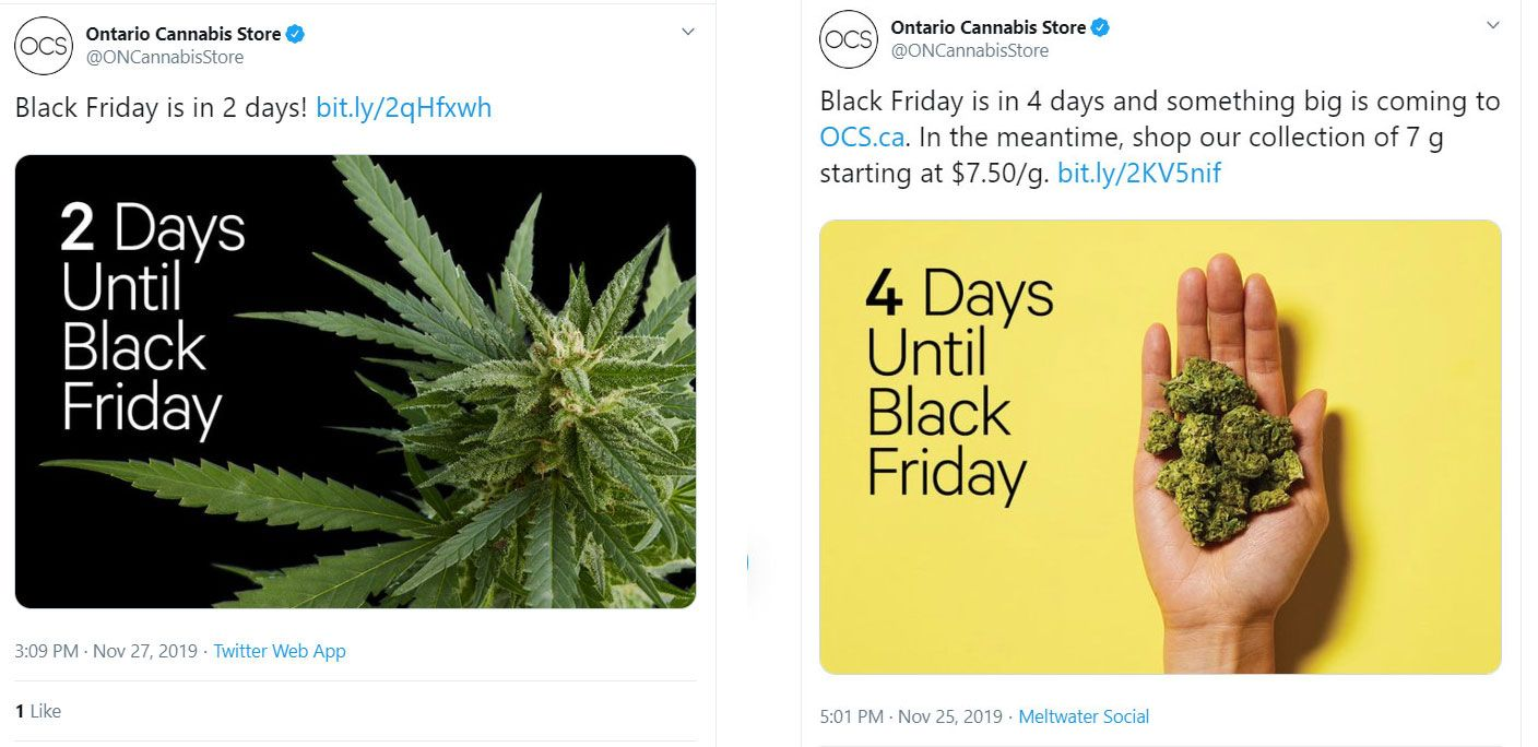 Canada cannabis advertising restrictions, Ontario Cannabis Store deletes Black Friday tweet 'in consultation' with federal regulator