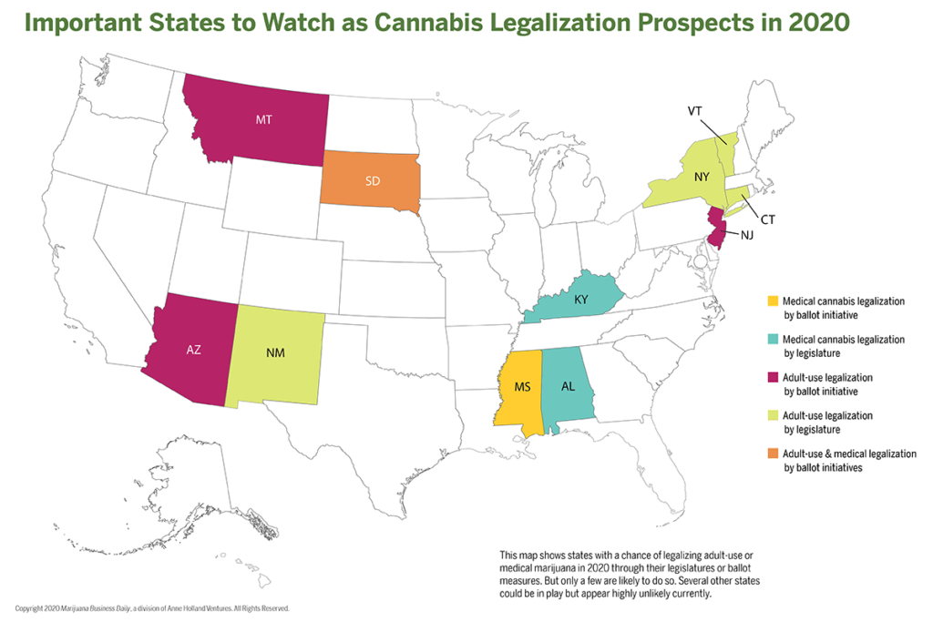 Map of states that might legalize marijuana in 2020