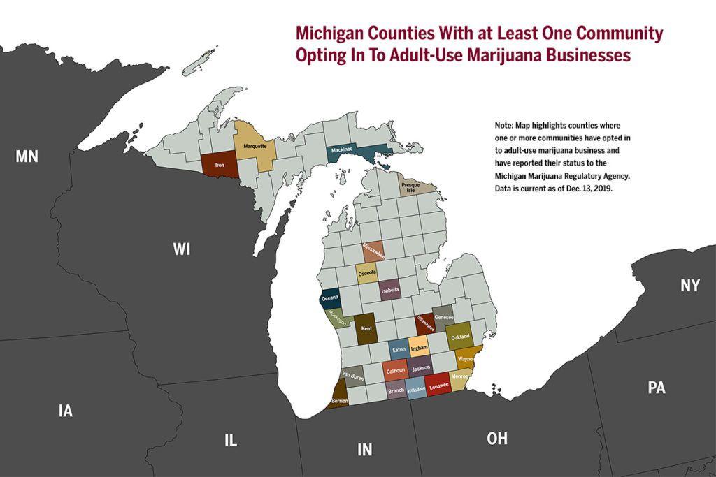 michigan marijuana, Chart: Local approval in Michigan adult-use marijuana program creates uneven business opportunity