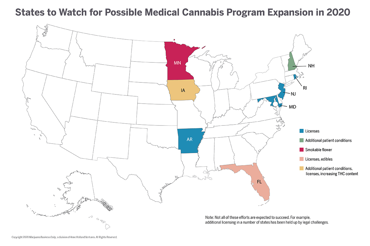 Medical cannabis business opportunities could swell in several states this year