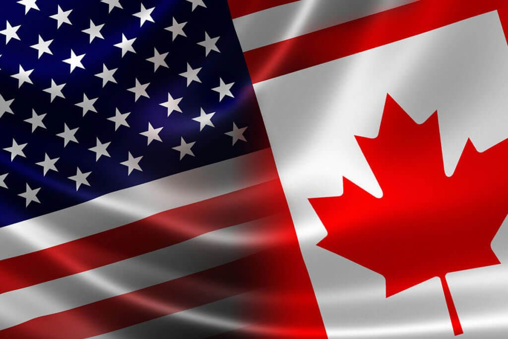 Image depicting U.S. and Canadian flags