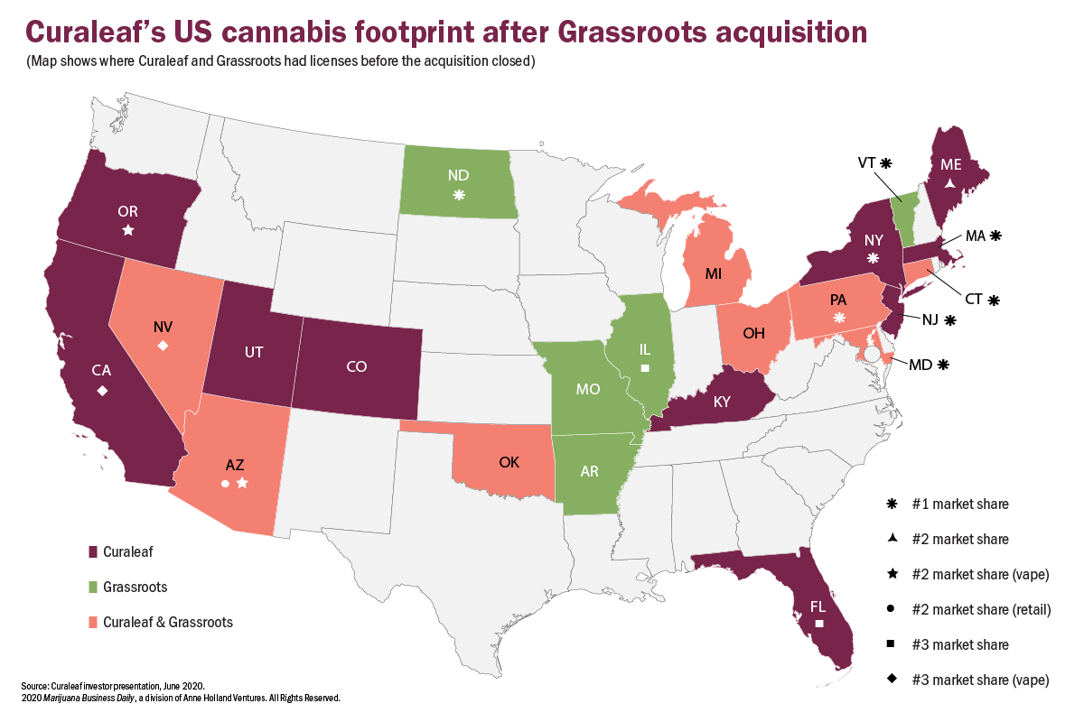 Curaleaf cannabis sales, Curaleaf rises to the top of US marijuana industry with footprint covering about two dozen states