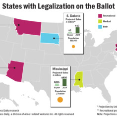 map of marijuana ballot initiatives