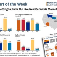 A chart showing key indicators of the five new cannabis markets