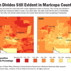 Map showing the shift in acceptance of marijuana in Maricopa County, Arizona for 2020.