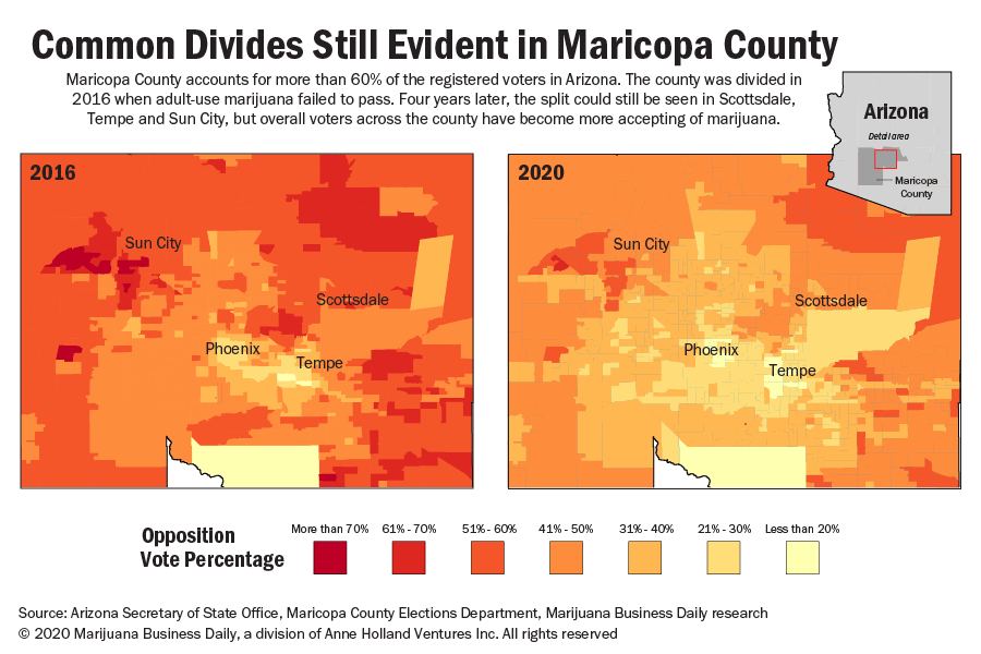 Map showing changing voter attitudes toward marijuana in Maricopa County, Arizona