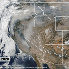 Satellite photo with map overlay showing smoke in Western US on Sept. 15, 2020