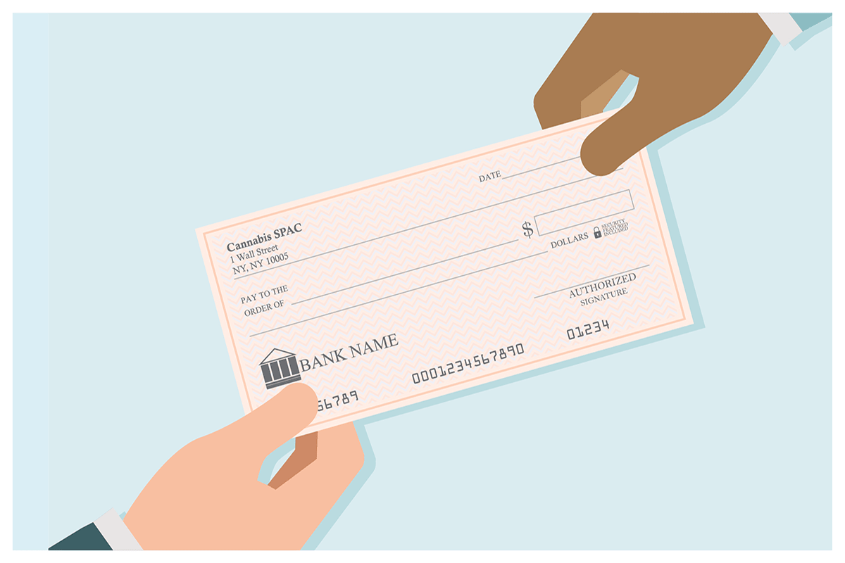 Image depicting a blank check changing hands