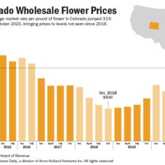 Chart showing the average market rate per pound of flower in Colorado since 2014.