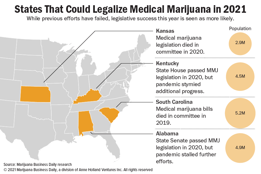 Map showing states that could legalize medical marijuana in 2021 with information about previous attempts.
