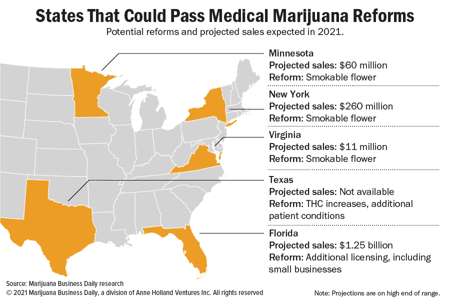 Map showing states where potential medical marijuana reforms could happen in 2021