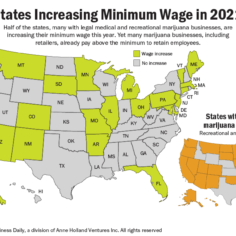 Map showing what states are expecting minimum wage increases in 2021