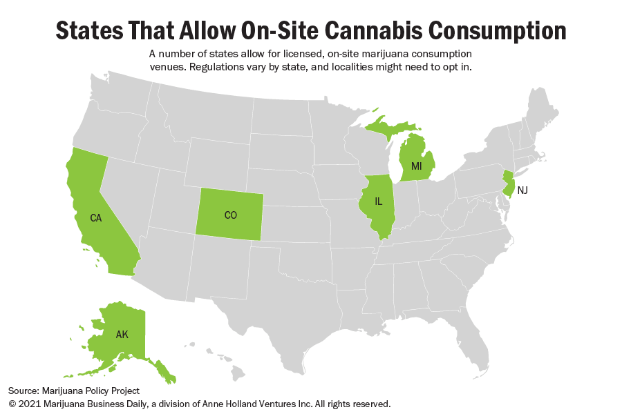 A map of states that allow on-site cannabis consumption.