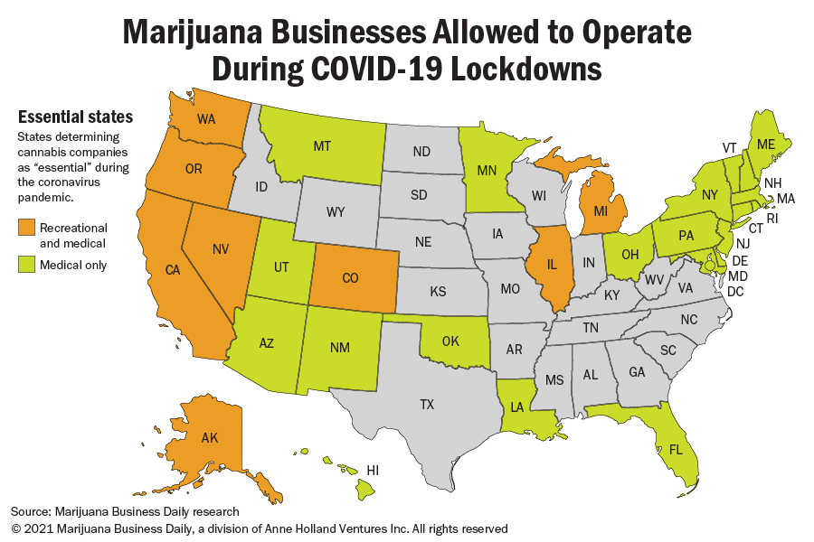 A map showing where states determined cannabis companies as essential businesses.