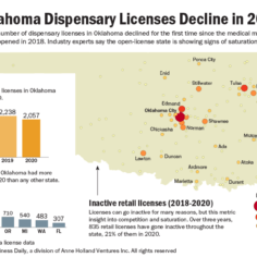 A map showing where Oklahoma dispensary licenses have not been renewed.