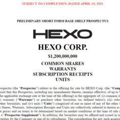 Hexo preliminary short form base shelf prospectus