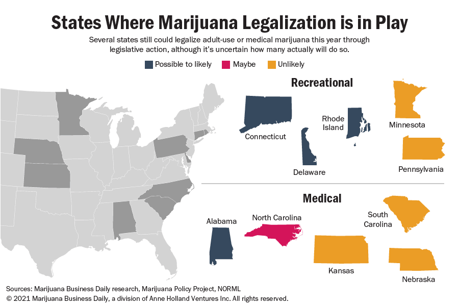 A chart map showing states where marijuana legalization is in play.