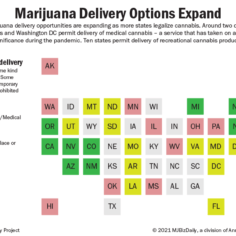 A map of U.S. states showing which allow delivery of either medical or adult-use marijuana.