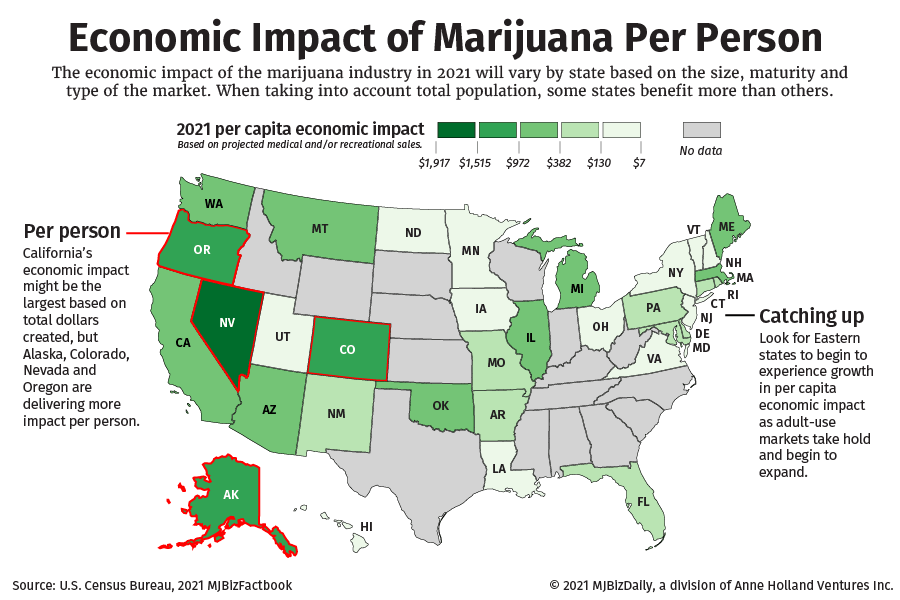 A map showing the per capita economic impact for U.S. States.