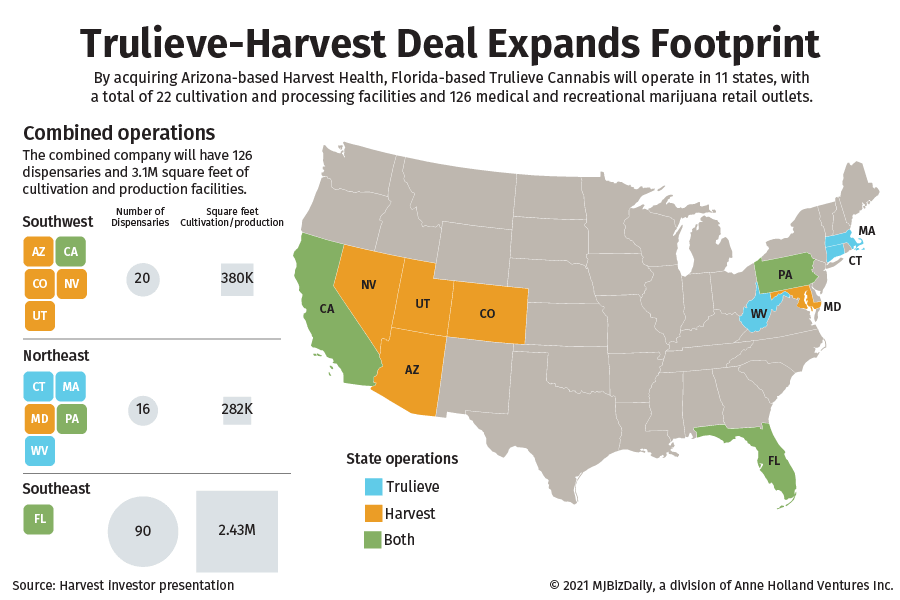 A map showing the new geographic footprint after the Trulieve and Harvest deal