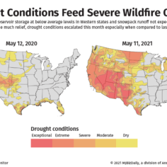 Maps showing the severe drought conditions facing cannabis cultivators this May compared to last year.