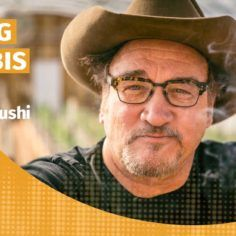 Podcast title with picture of Jim Belushi of Belushi's Farm
