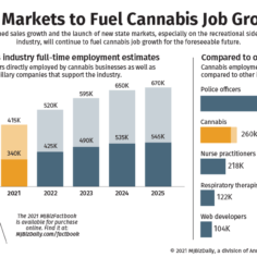 Chart showing the estimated full-time employment estimates for the U.S. cannabis industry and how that compares to other industries.