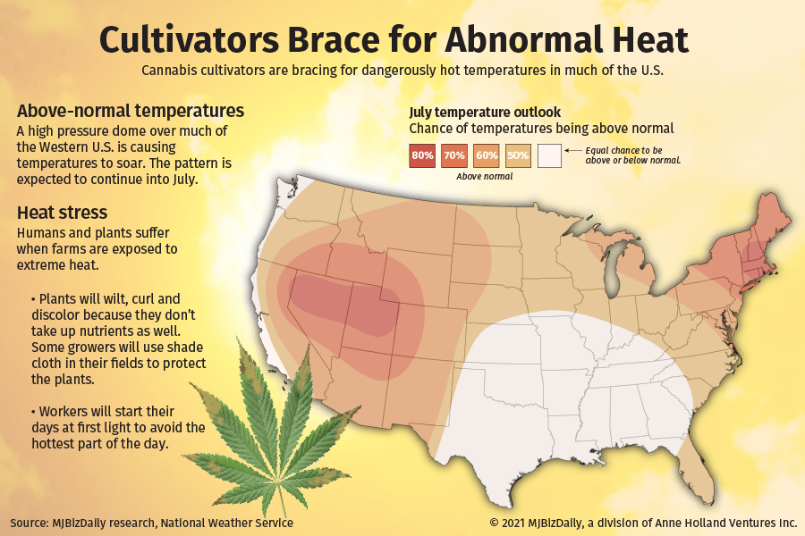 A map showing where high temperatures will be impacting cannabis cultivators.