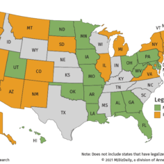 Map showing where medical and adult-use marijuana is legal in the United States.