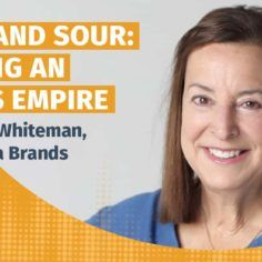 Podcast title with picture of Nancy Whiteman of Wana Brands