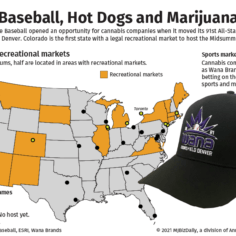 A map showing the location of the 30 MLB stadiums and how they relate to legal recreational marijuana markets.
