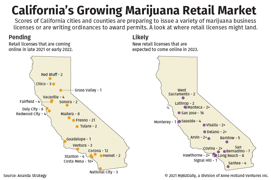 A map showing where new retail marijuana licenses will land in the coming years.