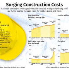 Charts showing rising costs of construction for the cannabis industry.