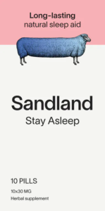 An image showing the packaging for Sandland sleep product