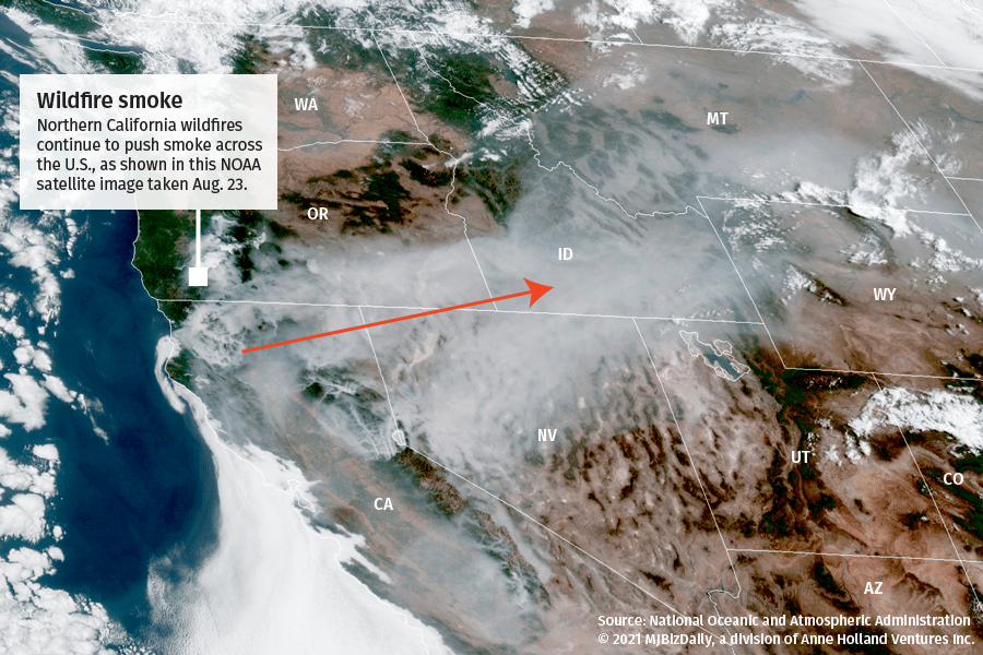 A satellite image showing the smoke being created by the wildfires in Northern California.