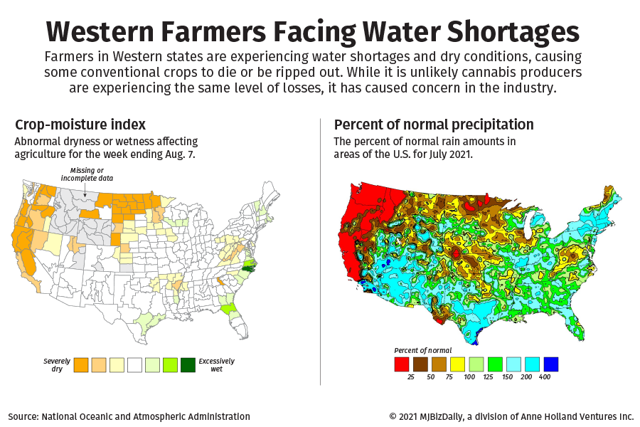 Two maps showing the issues farmers are facing in the U.S. The first is of the Crop Moisture Index for August 7, the other is the percent of normal precipitation.