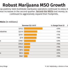 A chart showing the top marijuana MSOs by Q2 revenue